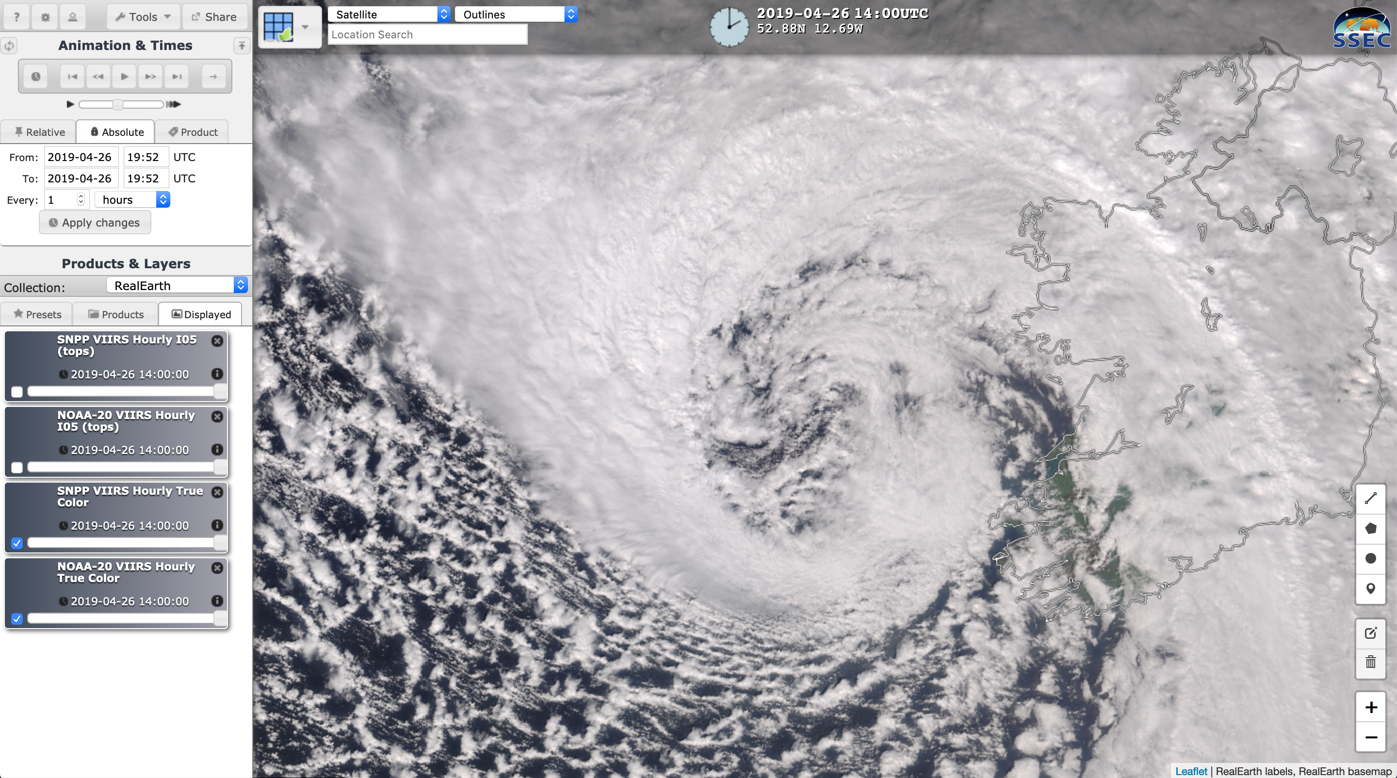 True Color RGB and Infrared Window (11.45 µm) images from Suomi NPP and NOAA-20 [click to play animation]