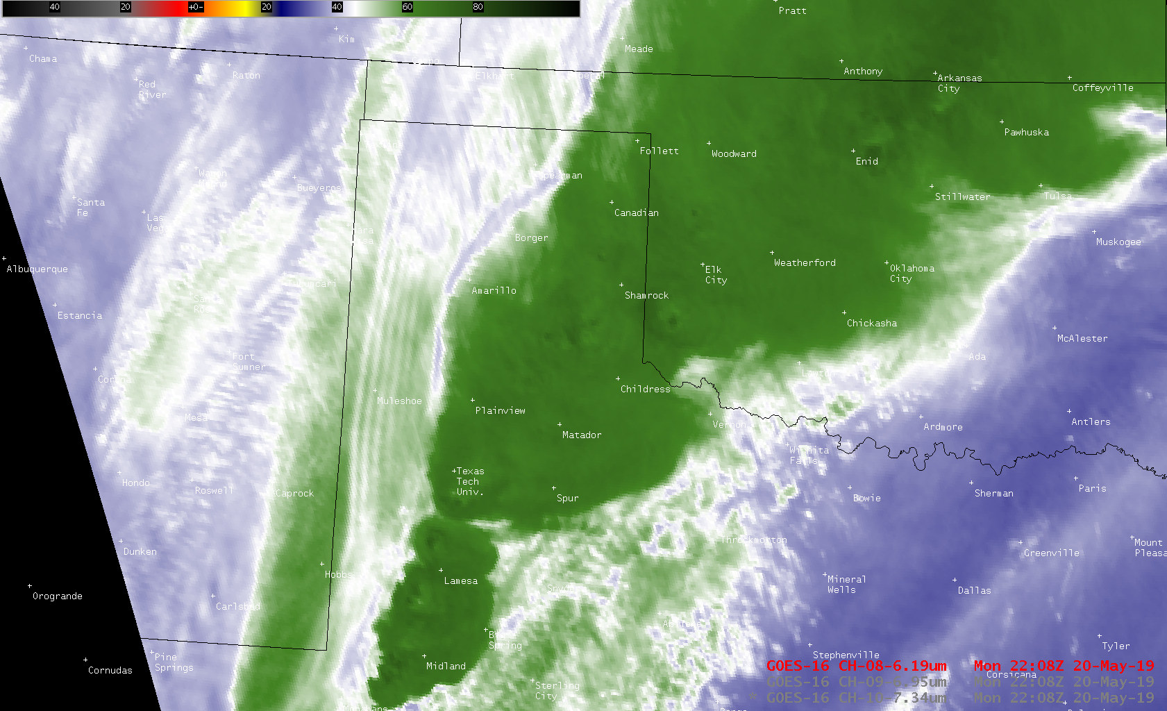 GOES-16 Low-level (7.3 µm), Mid-level (6.9 µm) and Upper-level (6.2 µm) Water Vapor images [click to play MP4 animation]