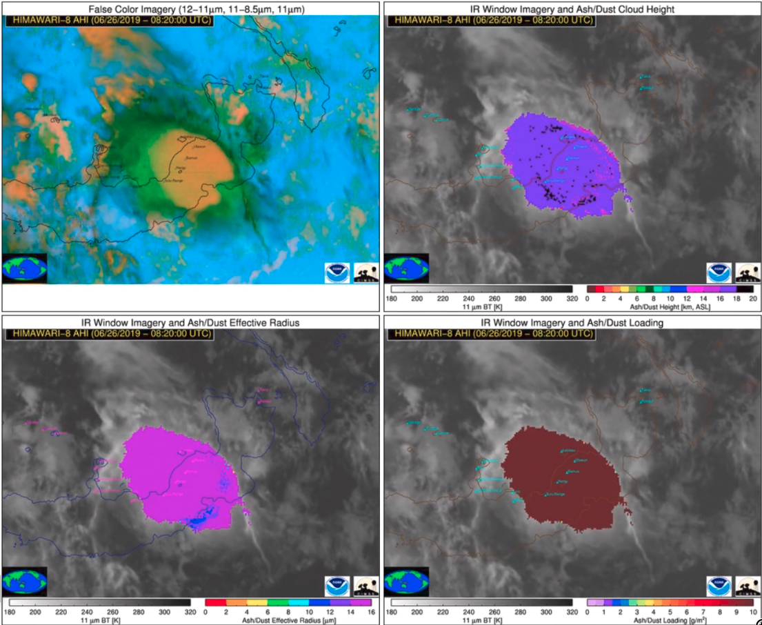 False Color RGB (top left), Ash Height (top right), Ash Effective Radius (bottom left) and Ash Loading (bottom right) [click to play animation | MP4]