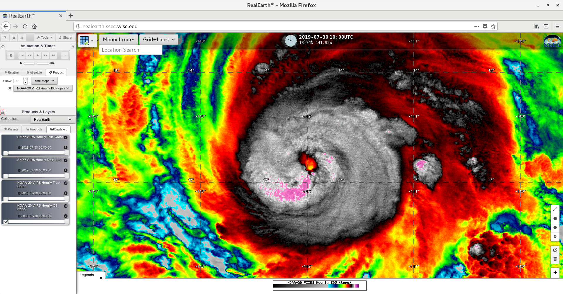 NOAA-20 VIIRS Infrared Window (11.45 µm) image [click to enlarge]