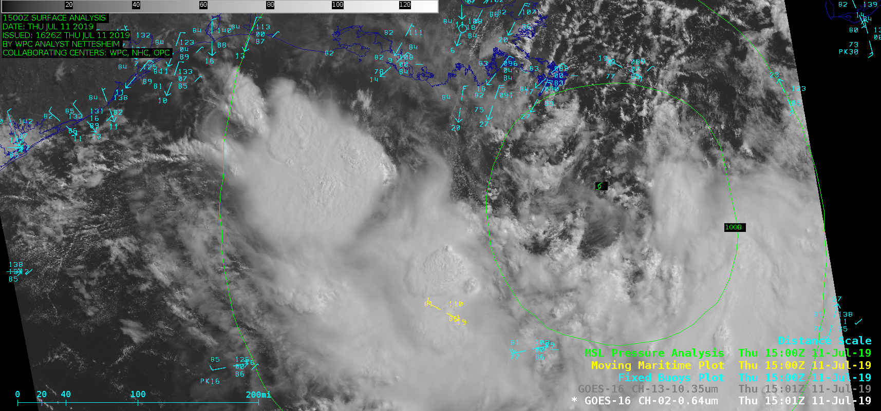 """GOES-16 """"Red"""" Visible (0.64 µm) and """"Clean"""" Infrared Window (10.35 µm) images, with plots of buoy and ship reports [click to play MP4 animation]"""