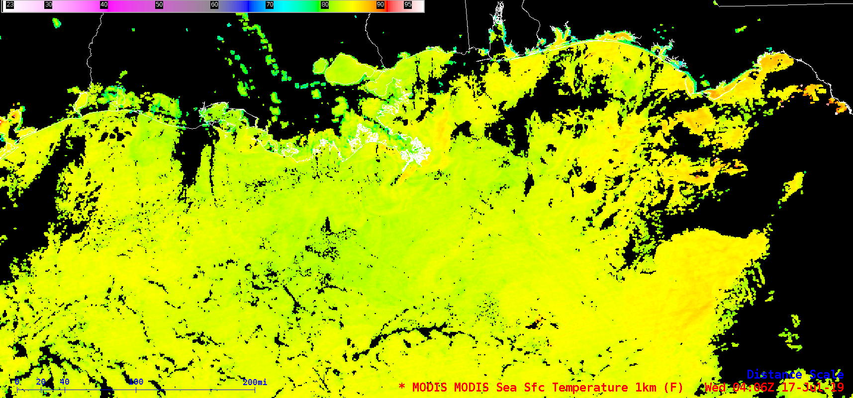 Terra MODIS Sea Surface Temperature product on 17 July [click to enlarge]