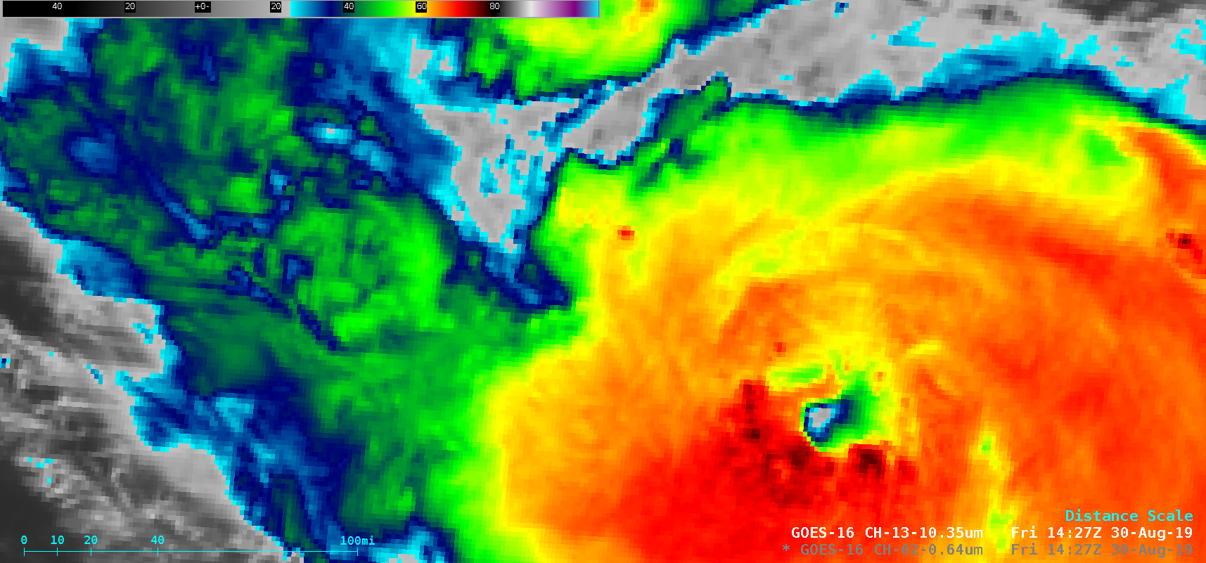 """GOES-16 """"Red"""" Visible (0.64 µm) and """"Clean"""" Infrared Window (10.35 µm) images [click to play animation 