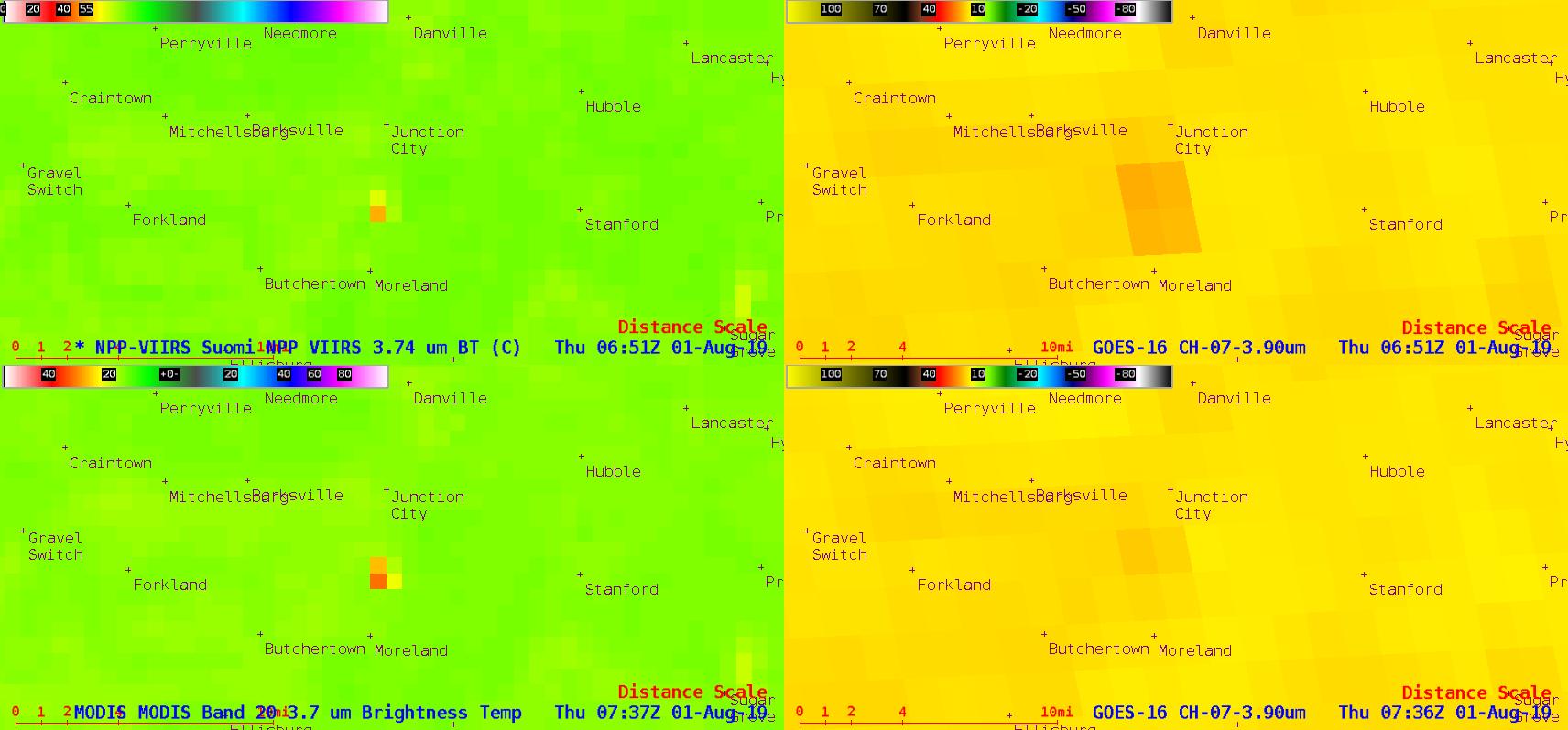Suomi NPP VIIRS Shortwave Infrared (3.74 µm, top left), GOES-16 Shortwave Infrared (3.9 µm, top right), Aqua MODIS Shortwave Infrared (3.7 µm, bottom left) and GOES-16 Shortwave Infrared (3.9 µm, bottom right) images [click to enlarge]
