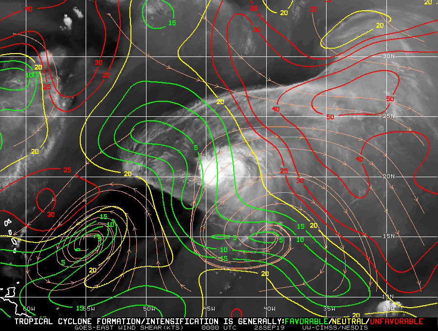 GOES-16 Water Vapor images, with contours and streamlines of deep-layer wind shear [click to play animation]