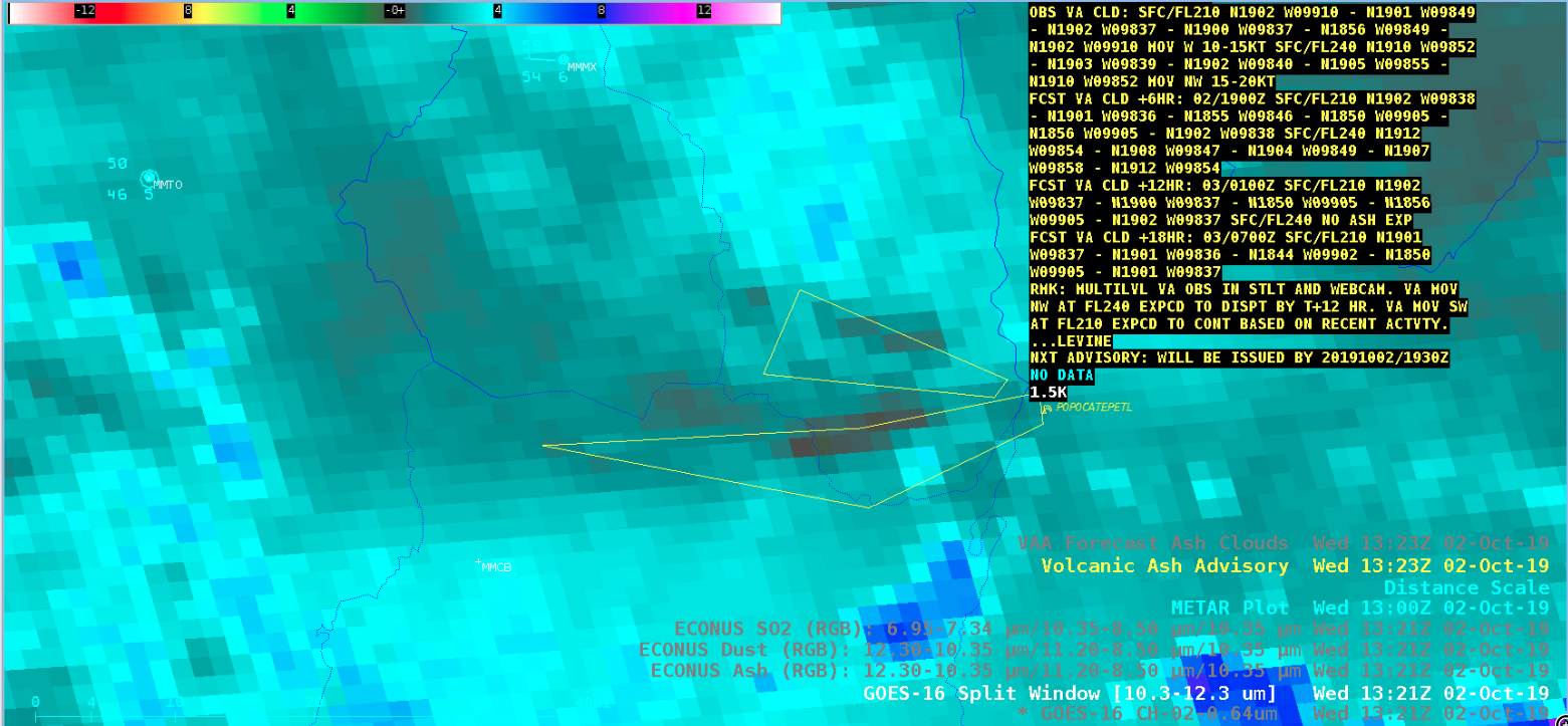 GOES-16 Split Window image with the text of the 1323 UTC Volcanic Ash Advisory [click to enlarge]