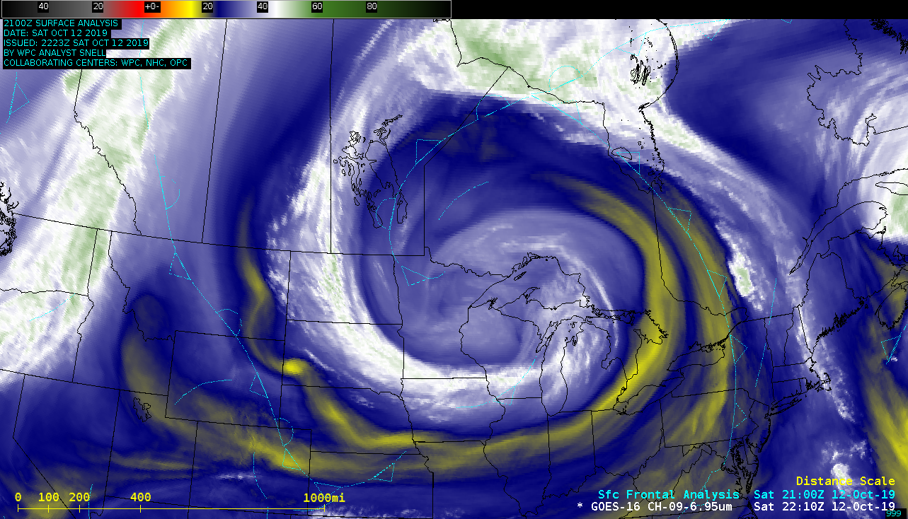 GOES-16 Mid-level Water Vapor (6.9 µm) images, with surface frontal positions [click to play animation]