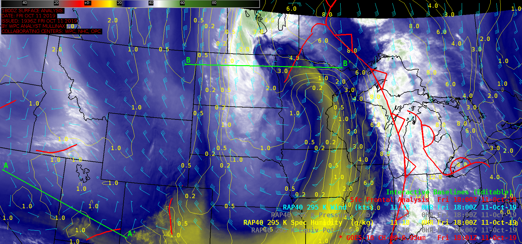 GOES-16 Mid-level Water Vapor (6.9 µm) images, with 295 K Specific Humidity contours plotted in yellow and surface fronts plotted in red [click to play animation | MP4]