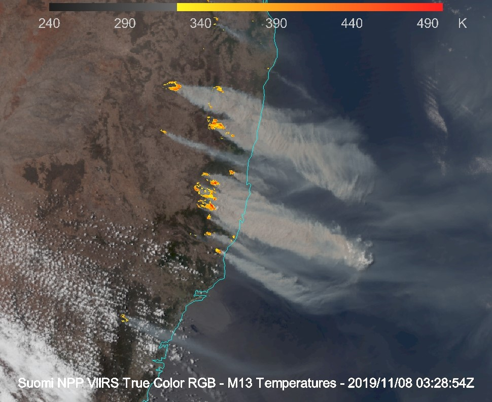 Suomi NPP VIIRS True Color RGB + Shortwave Infrared (4.1 µm) imagery at 0328 UTC [click to enlarge]