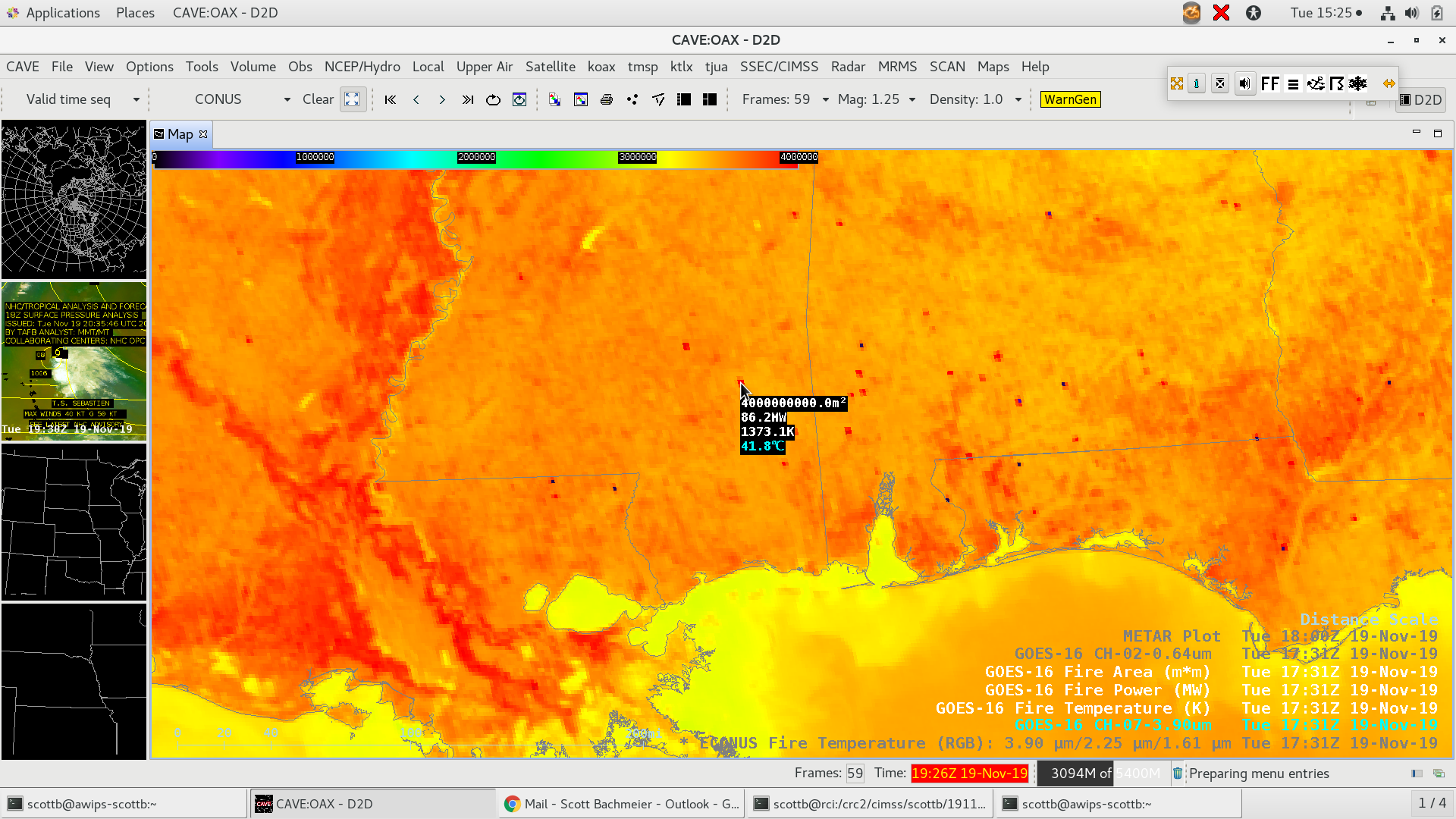 GOES-16 Shortwave Infrared (3.9 µm), Fire Temperature, Fire Power and Fire Area values at 1731 UTC [click to enlarge]