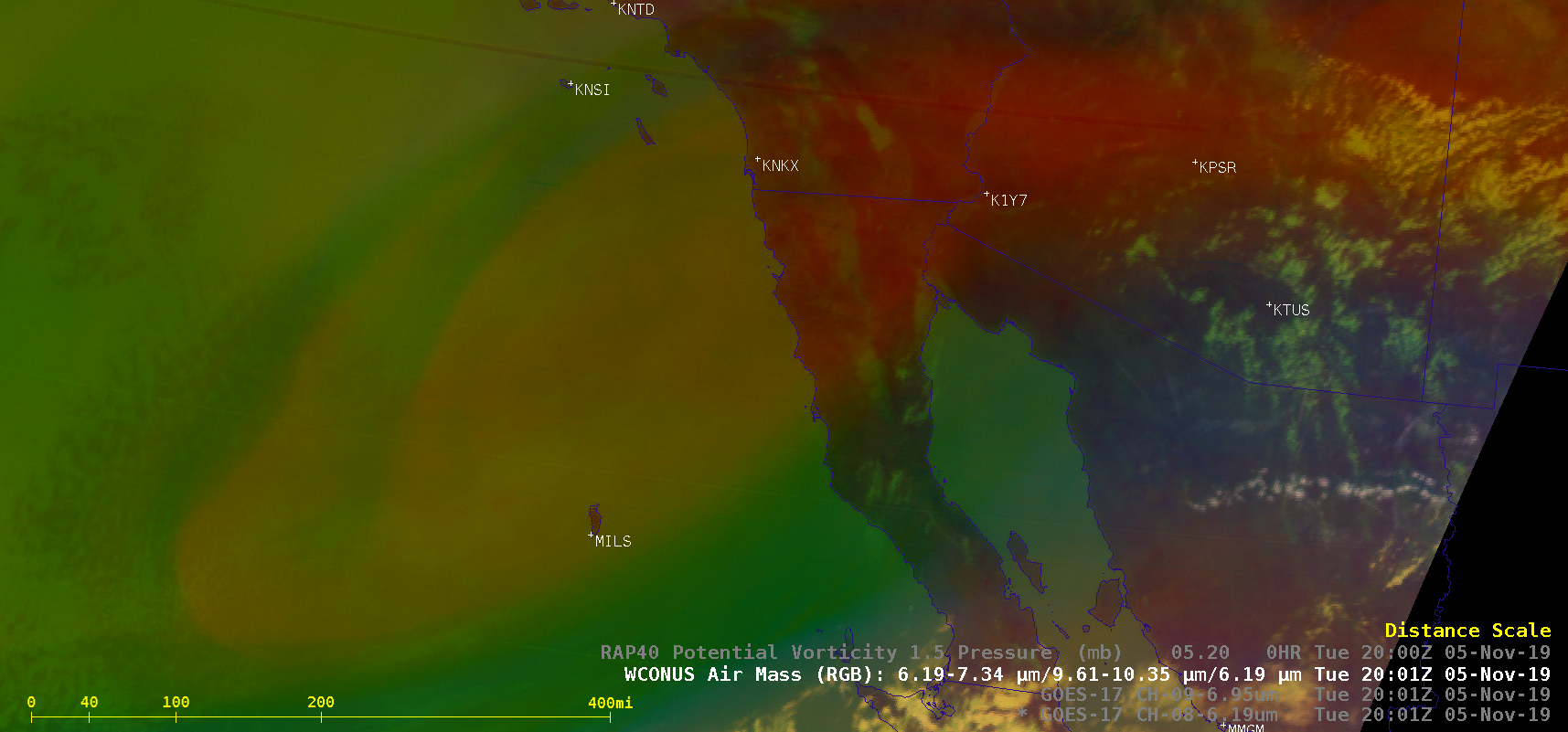 GOES-17 Upper-level Water Vapor (6.2 µm), Mid-level Water Vapor (6.9 µm) and Air Mass RGB images, with and without contours of PV1.5 pressure [click to play animation  MP4]