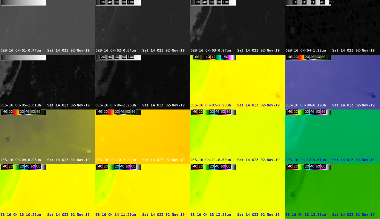 16-panel images of GOES-16 ABI spectral bands from 1400-1406 UTC [click to play animation]