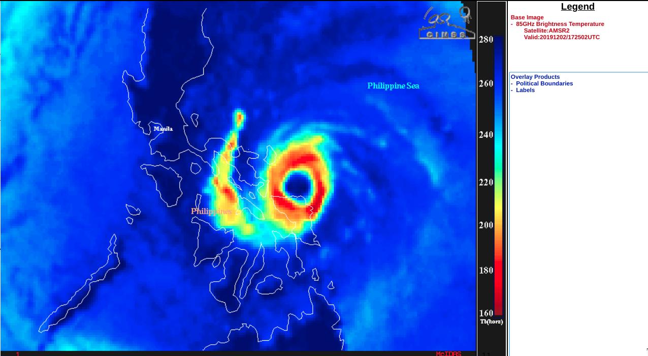 GCOM-W1 AMSR2 Microwave (85 GHz) image at 1725 UTC [click to enlarge]